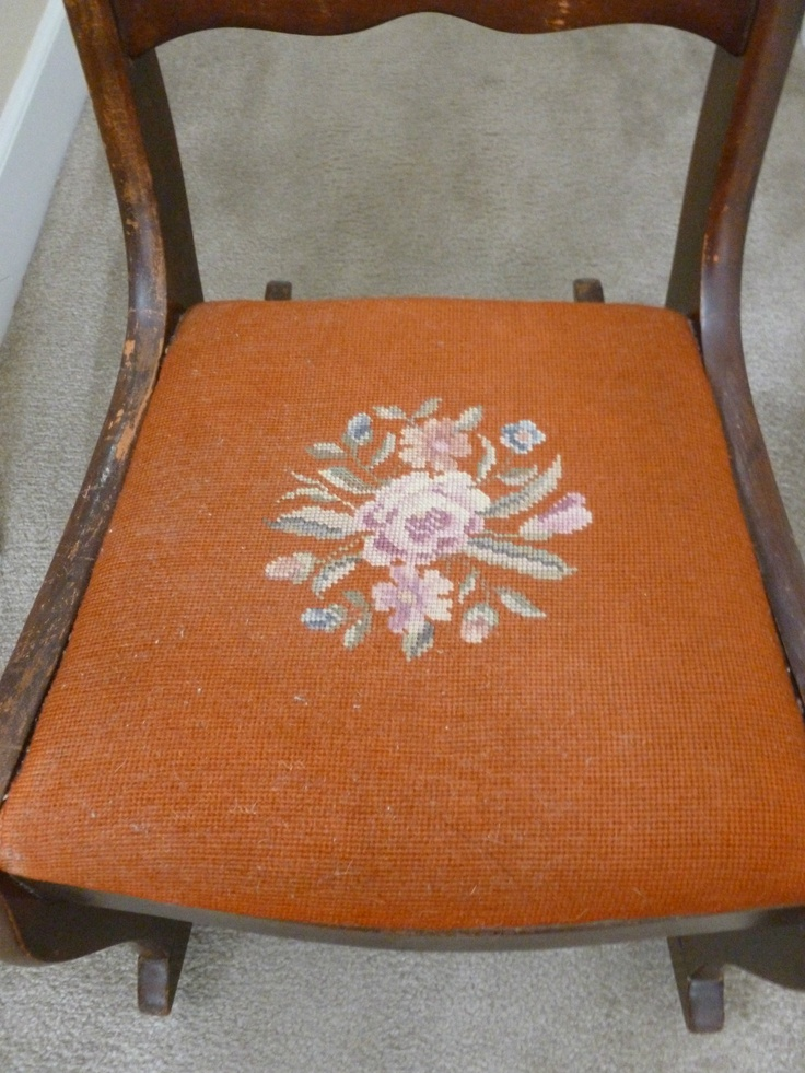 Tell City Chair Company   Rocking Chair   Orange Needlepoint Seat   Rose  Back