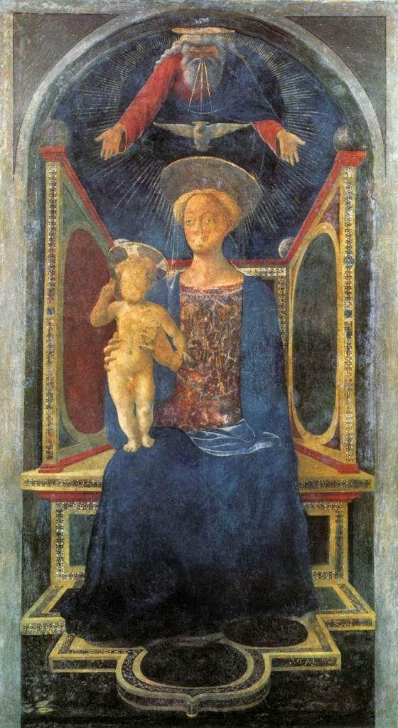 Мадонна с младенцем. 1435г. Доменико Венециано. Фреска, перенесенная на холст. Национальная галерея, Лондон.