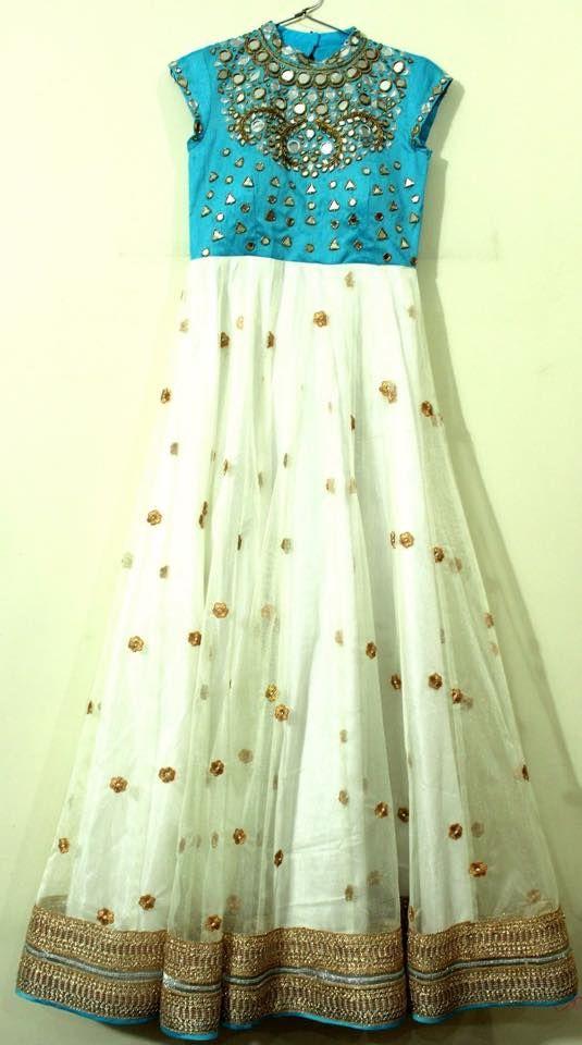 White Mirror work Salwar - Indian Dresses