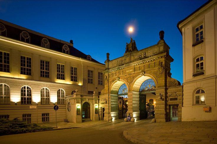 Entrance of the Pilsner Urquell brewery in Pilsen, Czech Republic