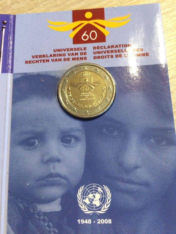 Belgique 2011 2 euro 60 ans déclaration universelle des droits de l homme fdc  tirage :8000 #collection #monnaie #numismatique
