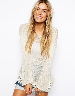 Image 1 of ASOS Crochet Top With Lace Hem