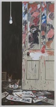 "Richard Bosman  Bacon's Door, 2010  Oil on canvas  72 x 36"""