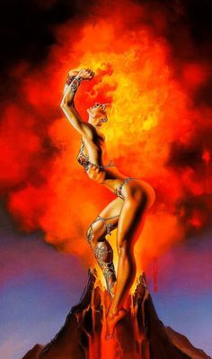 Mistress of Fire ~ Boris Vallejo - I love his Mistress paintings...