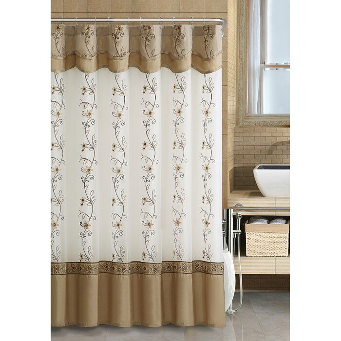 Searcy Floral Embroidered Semi Sheer Single Shower Curtain Fabric Shower Curtains Shower Curtain Sets Bathroom Shower Curtains