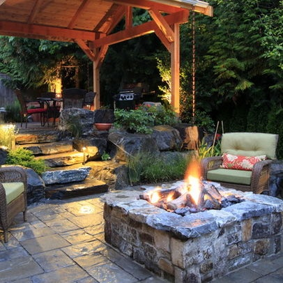 Seattle Home Backyard Fire Pit Design, Pictures, Remodel, Decor and Ideas
