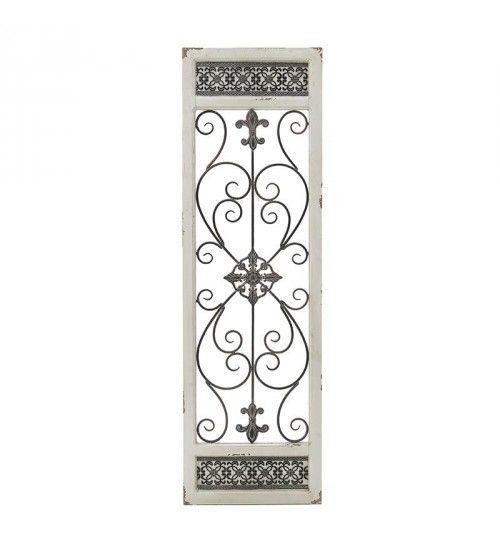 WOODEN_METAL DECORATIVE DOOR IN ANTIQUE WHITE 36X2_5X119