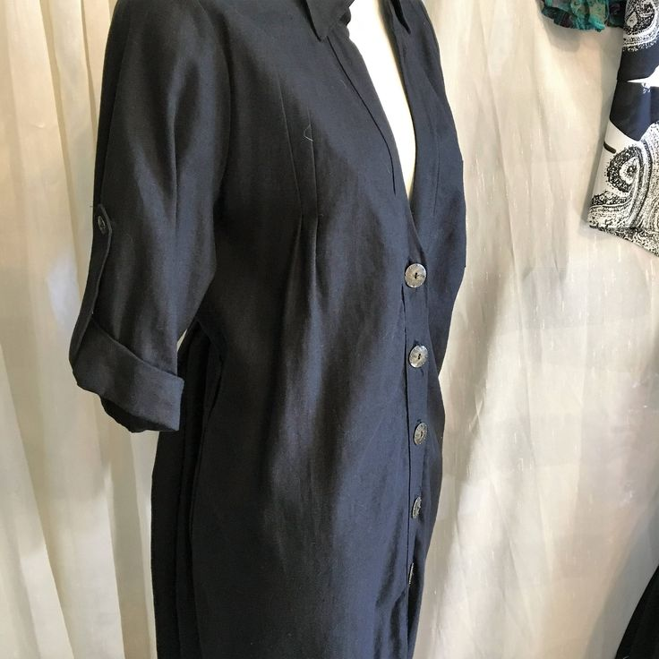 Denim Shirt Dress/C7 Couture/Free Shipping/Metal Buttons/ Large -XL Size by SamsAtticTreasures on Etsy