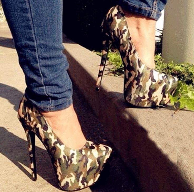 Chic Camouflage Platform High Heels