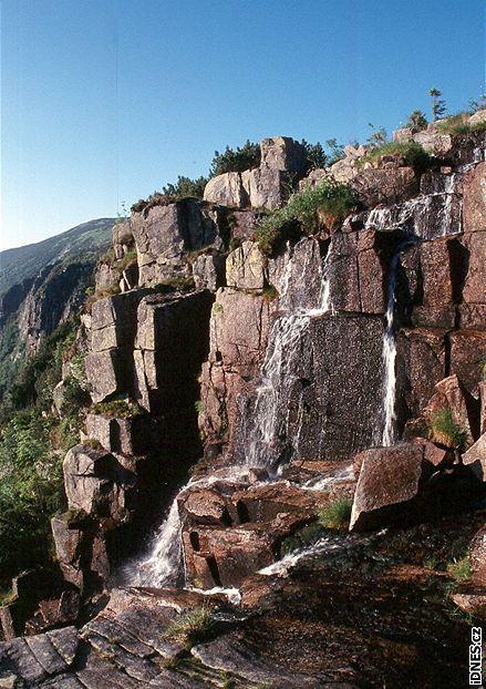 Krkonoše, horní hrana Pančavského vodopádu