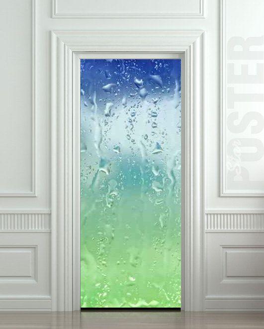Door STICKER Drops Rain Window Dew Mural Decole Film By Wallnit