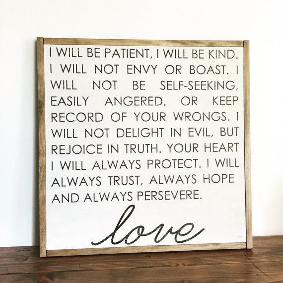 love sign love is patient scripture sign 1 by FreestyleMom on Etsy
