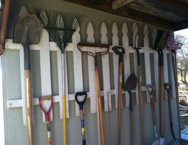 Garden tool storage ideas outdoors garden pinterest for Garden tool storage ideas
