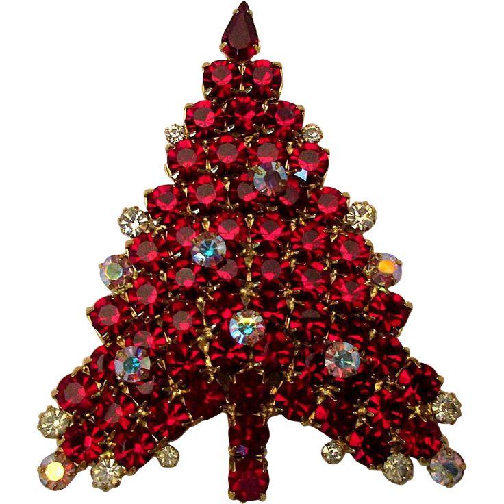Big Red Rhinestone Crystal Christmas Tree Pin Brooch