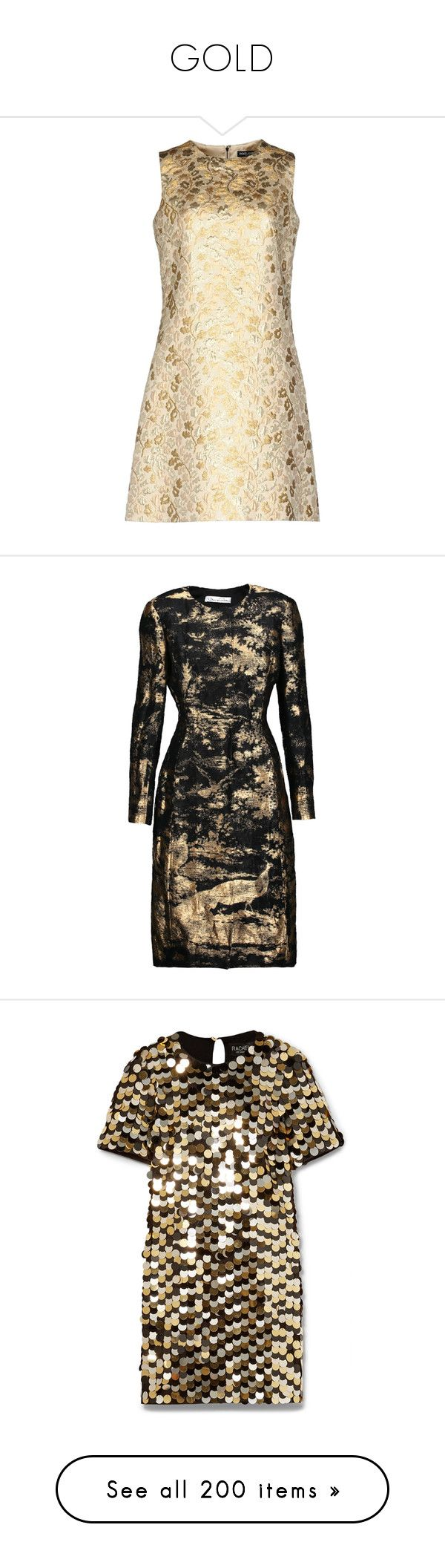 """""""GOLD"""" by shoppings9 ❤ liked on Polyvore featuring dresses, gold, trapeze dresses, beige dress, no sleeve dress, dolce gabbana dress, swing dresses, outerwear, coats and oscar de la renta"""