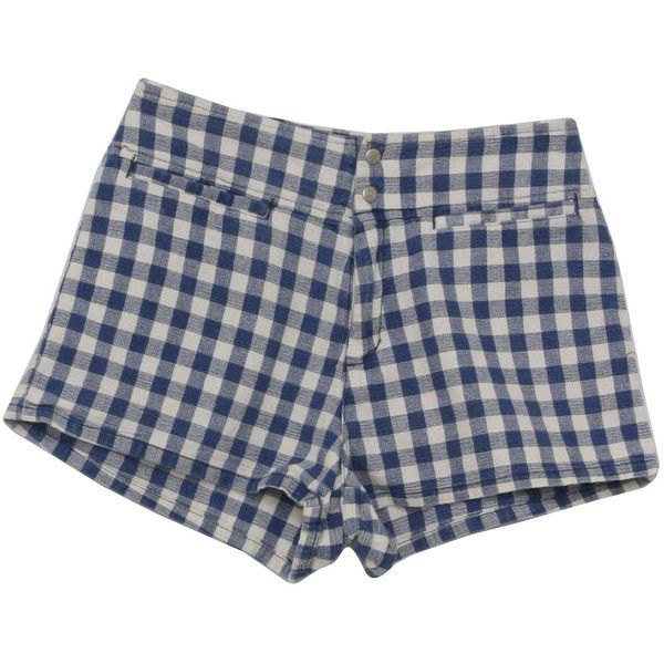 90's Guess Made in USA Shorts: 90s -Guess Made in USA- Womens blue and... ($26) ❤ liked on Polyvore