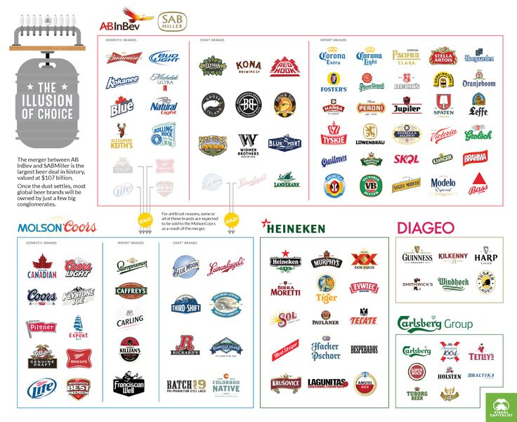 These 5 Giant Companies Control the World's Beer infographic