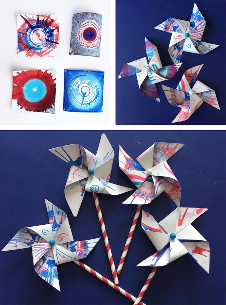 Patriotic Pinwheels Craft for Children - Perfect for the 4th of July or Labor Day *My kids would love this spin art project for the Independence Day