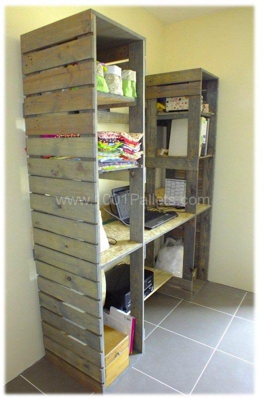 Meuble De Travail En Bois De Palette / Pallet Work Table & Shelves
