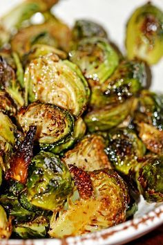 Roasted Brussels Sprouts - Ooops, ran out of balsamic, but turned out yummy with red wine vinegar :)