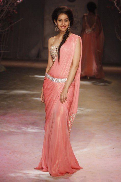 Gorgeous http://JyotsnaTiwari.com/ #Saree Gown at BMW @IndiaBridalWeek #IBFW2014