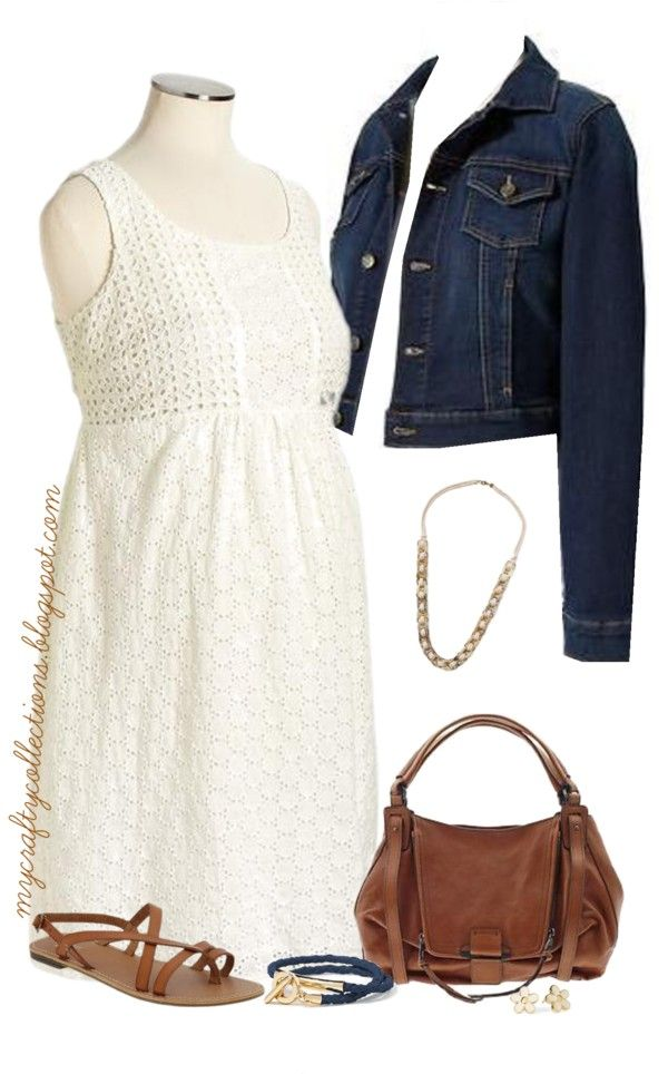 #Maternity Outfit: Beautiful Eyelet Dress - Featuring items from Old Navy, Piperlime, and Banana Republic.
