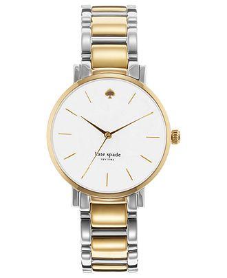 kate spade new york Watch, Women's Gramercy Two-Tone Stainless Steel Bracelet 34mm 1YRU0005 - Kate Spade - Jewelry & Watches - Macy's