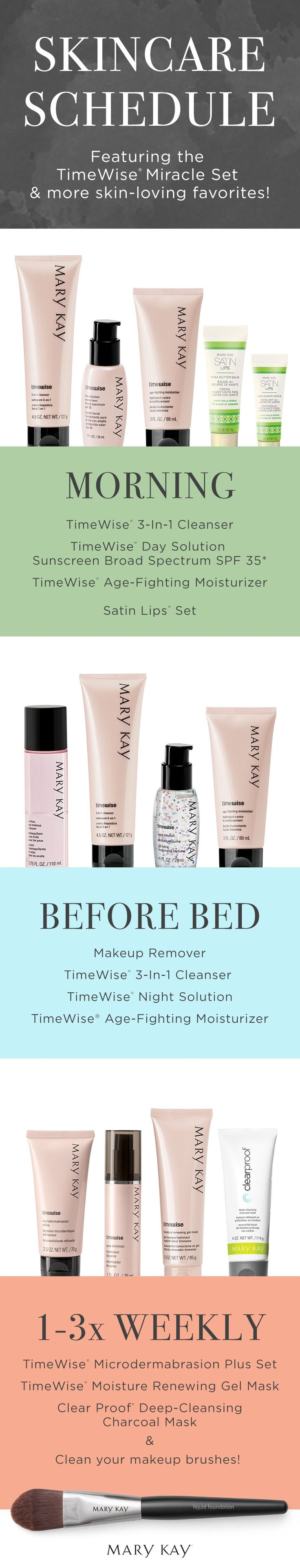 Confused about when to use which skin care products? We've created a regimen to help clear things up! Click to discover more skin-loving sets for a range of different skin types! | Mary Kay www.marykay.com/khouseholder1