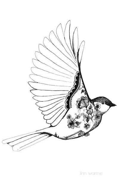 Simple black and white bird drawing - photo#8
