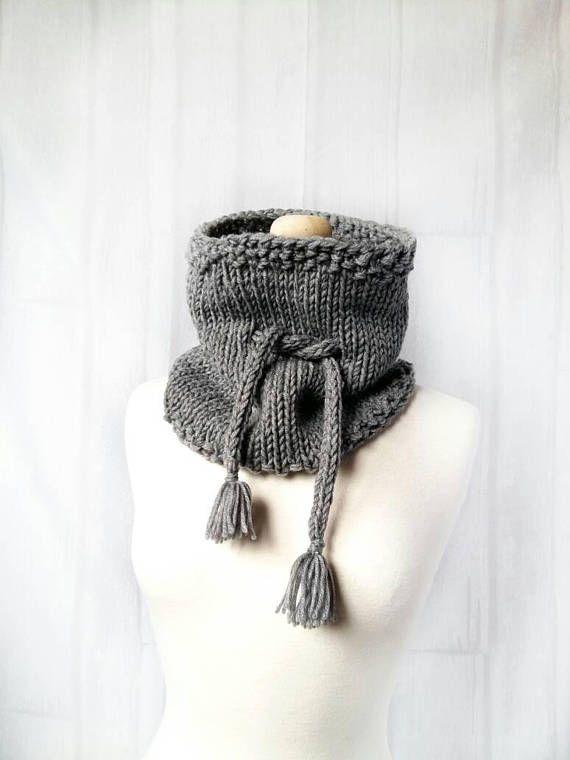 Grey Knit Cowl Scarf  Drawstring Cowl  Womens Neck Warmer