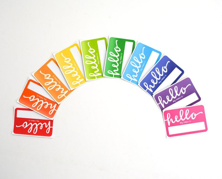 Rainbow Name Tags with Modern Calligraphy . Hello My Name Is . Rectangular Vinyl Stickers . Bright Colors . Set of 10. $8.00, via Etsy.