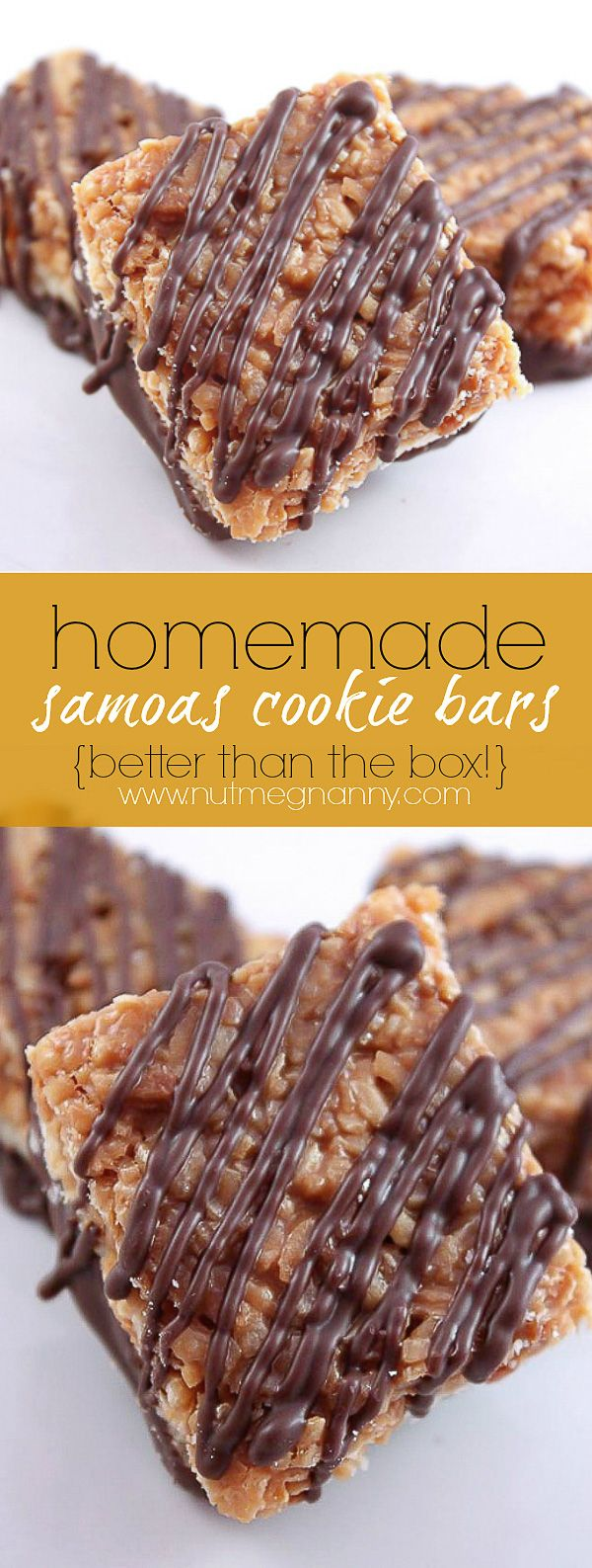 Another pinner: These homemade girl scout samoas cookie bars are better than the original! Easy to make and packed full of caramel, chocolate and coconut flavor!