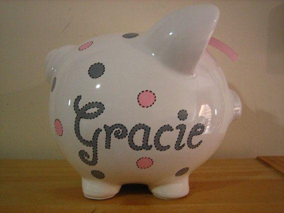 Personalized Flower Girl Large Piggy Bank Pink/ Grey Polka Dots-Newborns , Girls , Baby Shower Gift Centerpiece
