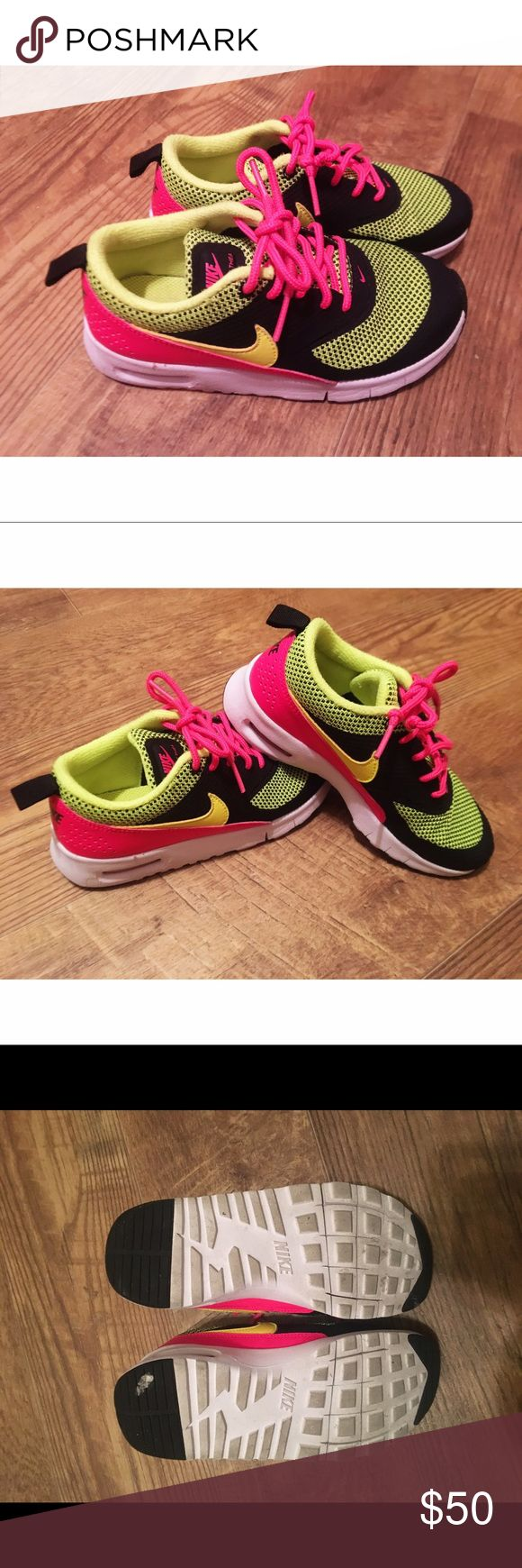 Girl's Neon Pink and Green Nike Shoes Girl's Neon Pink and Green Nike Shoes • Size 12c • Barely used • Still retails for $80 at Nordstrom Nike Shoes Sneakers