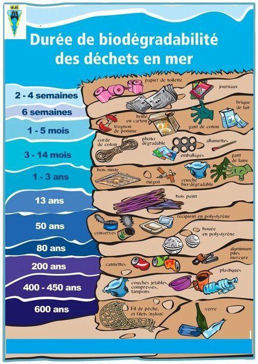 Voici un tableau explicatif sur la durée de biodégrabilité des déchets en mer : A partager sans modération pendant les vacances estivales !