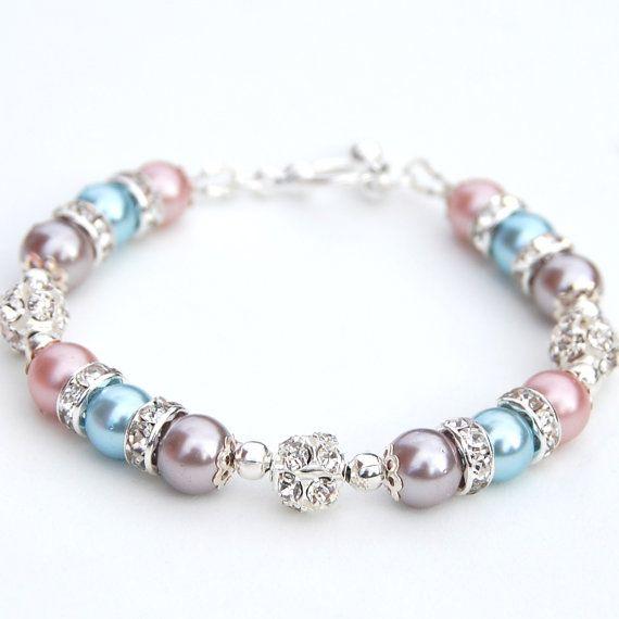Bridesmaid Jewelry Pastel Pearl Rhinestone Bracelet by AMIdesigns, $24.00