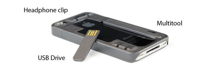 ReadyCase multitasking iPhone case, with multi-took, swappable lenses, USB drive, and a kickstand.