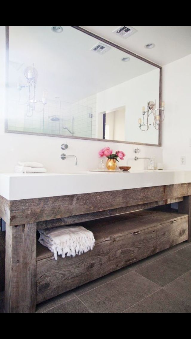rustic-chic bathroom vanity with large vessel sink