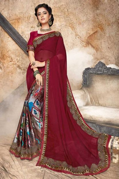 4650596b47ced8 Maroon Georgette Silk Embroidery Work Festival Wear Saree With Blouse Piece  Cataloge Number -6995 Whatsapp  - +91 9377709531  sareewhole…