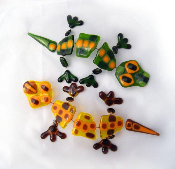 Fused Glass Lizards by Julia Rezinsky, via Behance
