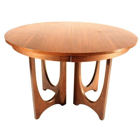 Mid century broyhill brasilia round walnut dining table for Mid century round dining table