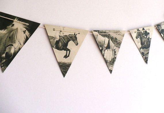 Vintage HORSES - paper bunting, B & W party decoration, horse decor