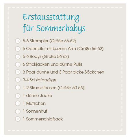 Checkliste Baby-Erstausstattung Sommerbaby