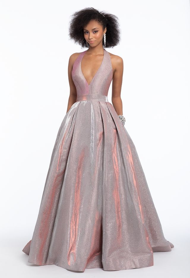 0fd246ced7 Show up and shimmer in this trendy A-line prom dress! From the halter  plunging neckline and open back to the fitted bodice and ball gown skirt