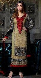 Esha Gupta In Beige Color Designer Salwar Suit