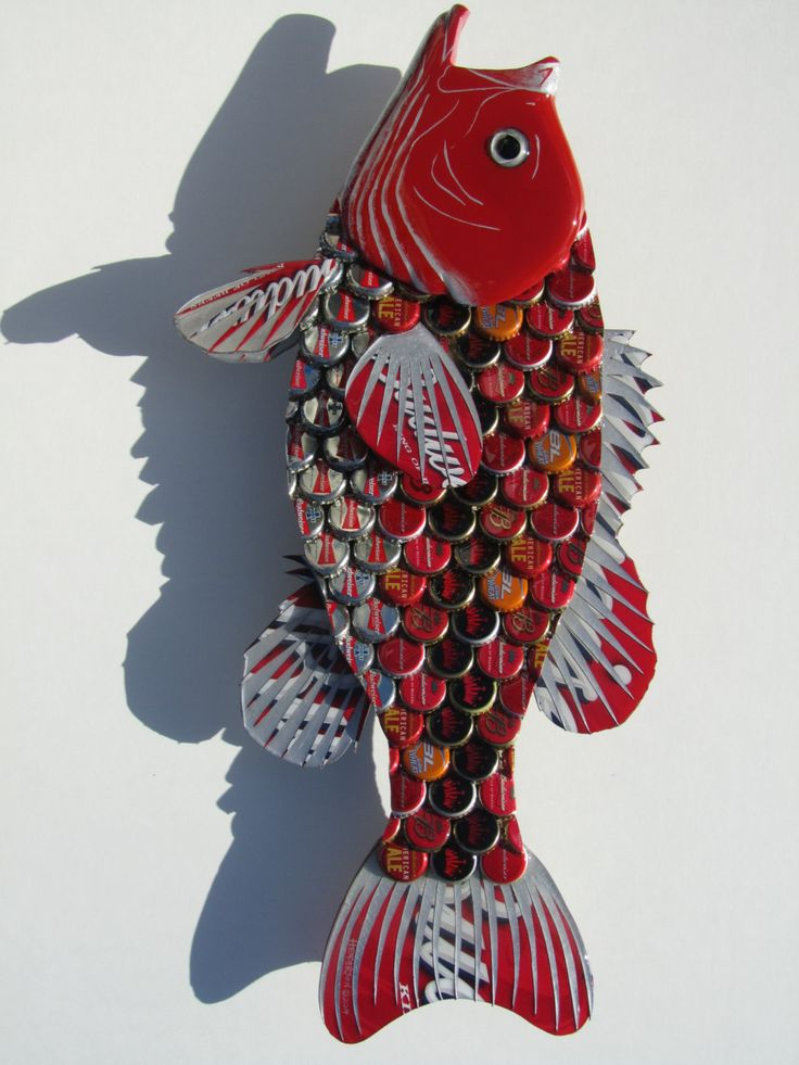 Metal Bottle Cap Fish Wall Art Red Budweiser Large door EricsEasel