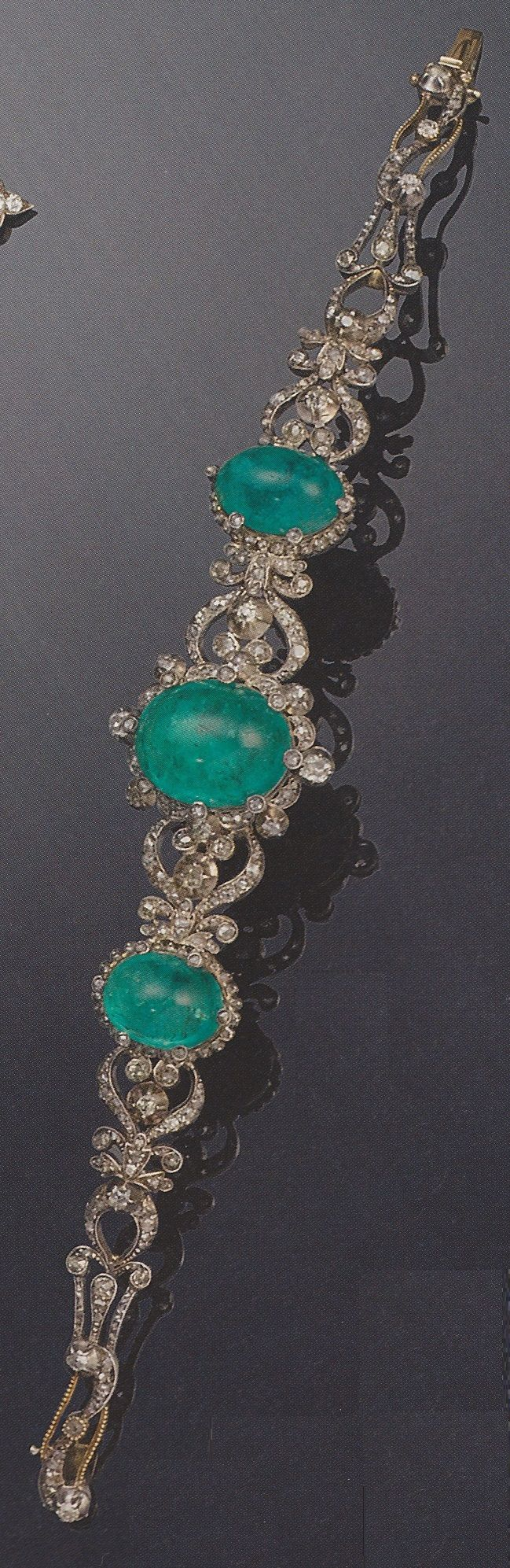 An antique diamond and emerald bracelet, 19th century. Provenance: Princess Hanna of Liechtenstein (1849-1925). Source: Signature Styles: Fine Jewellery and Iconic Jewels from the 20th century. Bonhams, 6 December 2007, London.