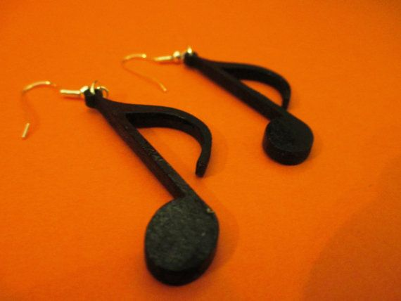 Originals wooden earrings shape of QUAVER NOTE by CreazioniDalCelo