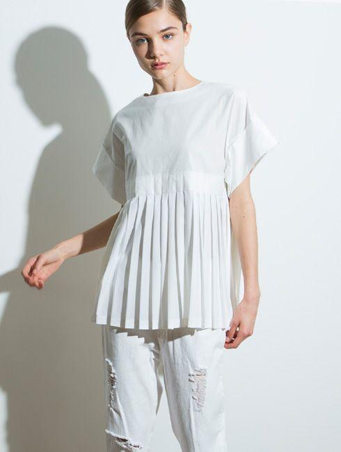 【Pleats blouse】レディース プリーツ ブラウス