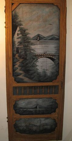 Anonymous Works: Circa 1920s-1930s Folk Art Painted Screen Door